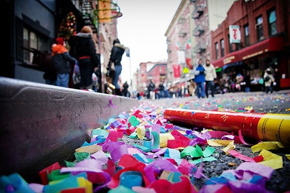 Partys Over Gallery Canvas Wrap, New York, City, Little Italy, Confetti, Red, Pink, Blue, Green, Yellow, Celebration