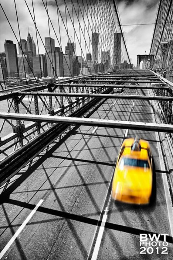 NYC Taxi, Aluminum Photo Print, New York, City, Cityscape, Brooklyn Bridge, Selective Color, Urban, Yellow, Black, White