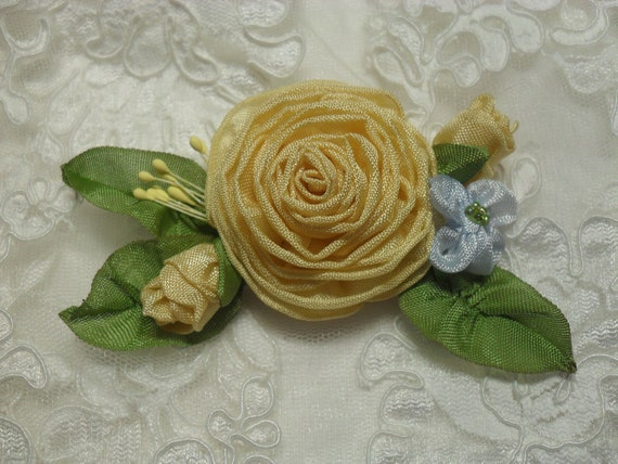 French Ribonwork Pin Yellow Brooch Applique Bobby Pin RESERVED