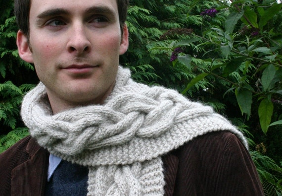 Items similar to Mens Chunky Knitted Cable Scarf Knitting ...