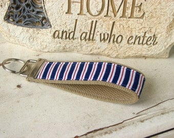 Red & Blue Stripes Key Fob Wristlet Key Chain