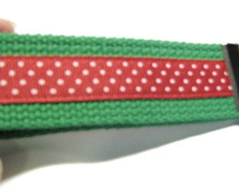 Green Red and White Key Fob Wrislet Keychain Stocking Stuffer Christmas