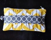 wristlet clutch with gathers and zipper, credit card pockets, removable strap