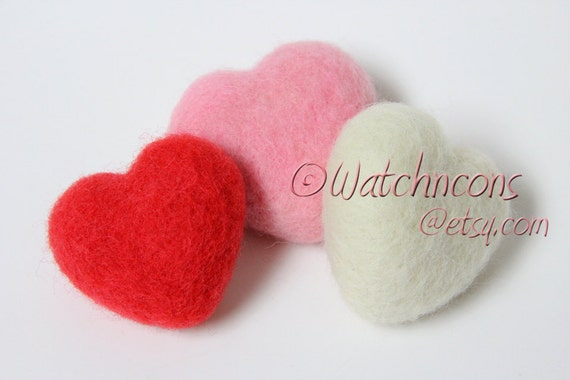 3 Needle Felted Wool Hearts - Red Pink White