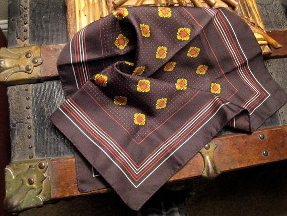 Vtg 1960s Neck Scarf Mod Cowl Bandanna Eco handkerchief Traveler Gypsy Small Seed Chakras Meditation Brown Golden Yellow