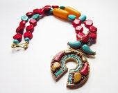 RESERVED for ISB -  sale - Nepalese Coral, Turquoise,  Resin Pendant w/ Coral, Turquoise & Nepalese Resin, Brass: Kathmandu Dreams III *ooak