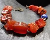Carnelian, Agate, Baltic Amber, & Tie-Dyed Turquoise: Southwestern Sunrise OOAK Bracelet
