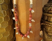 Rhodonite, Moonstone, & Pink Quartz: Fiercely Pink - OOAK Necklace