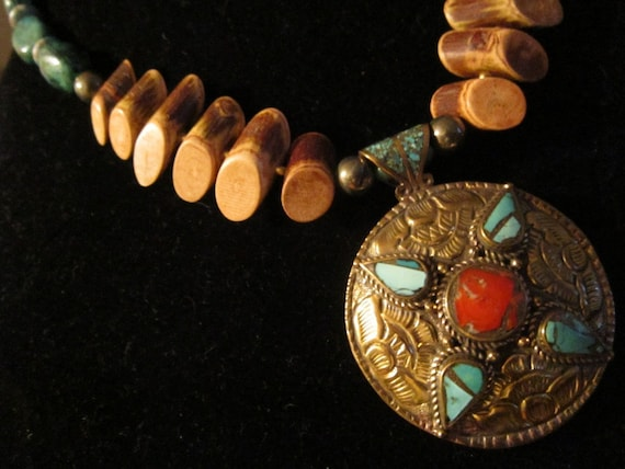 Nepalese Turquoise & Coral Pendant, Agate, Turquoise, Red Jasper, Pyrite, Brass, and Banghaw Wood - Kathmandu Dreams IV - OOAK Necklace