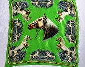Vintage Silk Horse Scarf