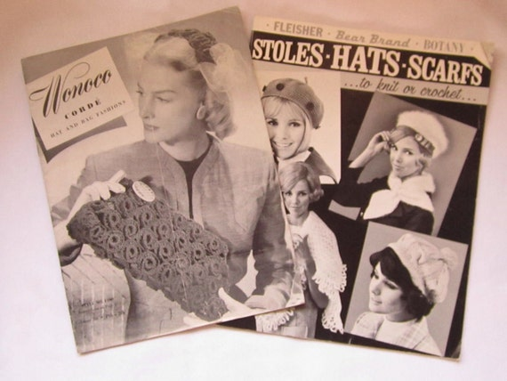 Reduced for Rosemarie Set of 2 Vintage Hand Bags Scarfs Hats Belts and Stoles Instructional Magazines