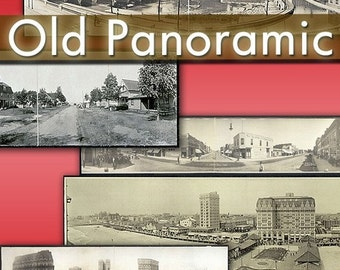 Digital images collection Old Panoramic photographs of cities -Part.1- cards labels decoupage ephemera vintage landscape country / C136