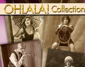 Download digital images collection, Ohlala vintage lady romantic 100 photos printable, ephemera Paris france scrap cards labels / C117