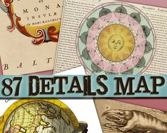 Digital images of Maps Earth and Sky download collection old ancient miscellany ephemera card space large size vintage book / C155