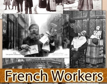 Digital collection 1470 Jpeg files cards vintage labels decoupage ephemera French Workers Postcards Years 1900-1914 / C162