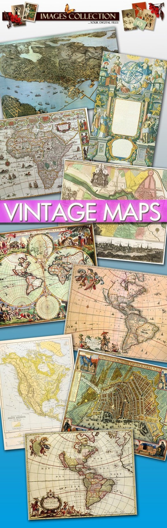 Digital collection 80 Antique Maps Large Images printable for your scrap, cards, labels, jewellery, decoupage art old ancient World / C102