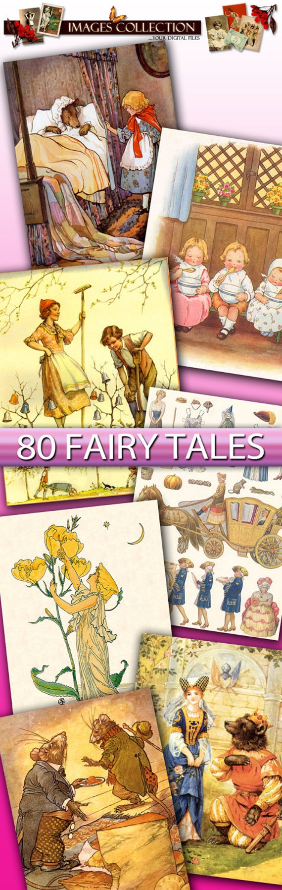 Digital collection Paintings of Fairy Tales images for download - Little Red Riding Hood fairy paintings drawings children cards / C143