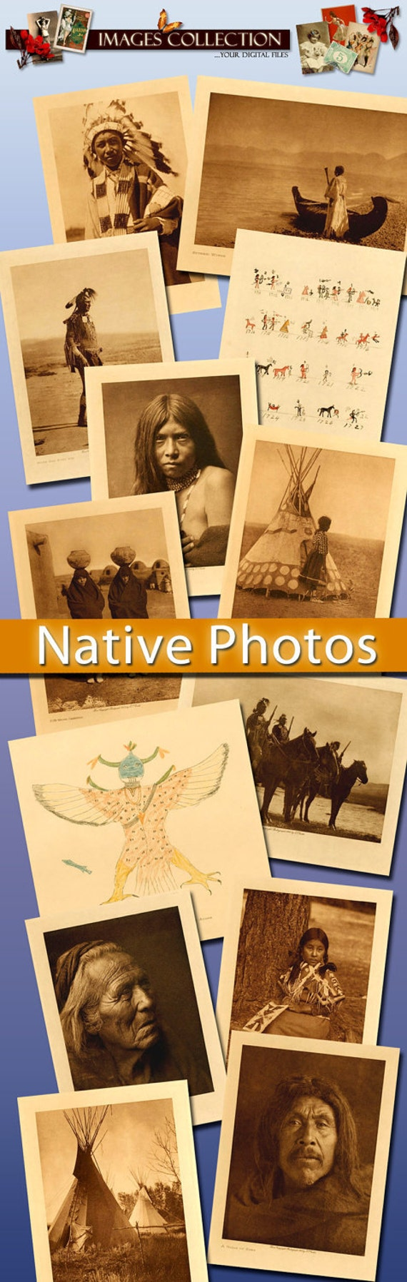 Download collection Vintage Photos of Native North Americans - ephemera indians horses taipee village west old transfer paper / C163