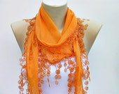 Lace scarf,Guipure scarf/scarf/necklace scarf/ cotton scarf  in orange,Woman scarf,spring ,