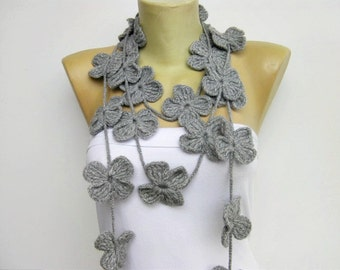 Scarf crochet lariat ,flower scarf ,crochet jewelery,woman accessories ,spring ,winter