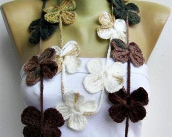 crochet lariat flower  , crochet flower scarf