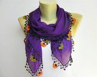 Turkish oya scarf hand crocheted  lace scarf/ ethnik / bandana  /turban  /headband/gift for her