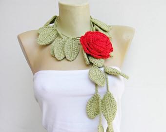 Red  rose crochet jewelry/crochet pendant / crochet necklace/ with flower brooch
