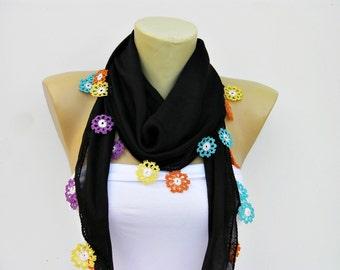 Turkish oya scarf,hand crocheted  lace scarf/ ethnik / bandana  /turban  /headband/gift for her