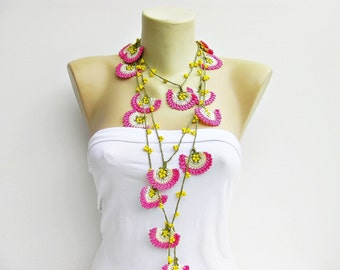 Strand necklace -Crochet bead work necklace jewelry/crochet pendant / crochet necklace/ with beads