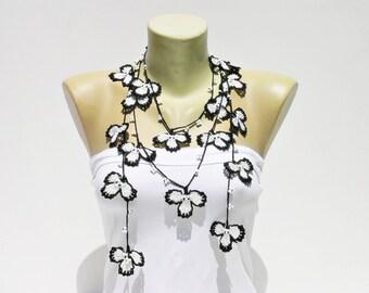 Crochet oya bead work necklace, turkish oya necklace ,black white