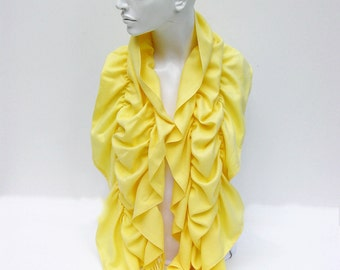 Ruffle scarf  ,Pashmina fabric scarf in yellow - CHOOSE YOUR COLOR