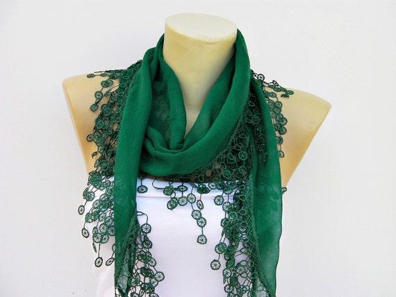 Scarf,shawl,guipure scarf/headband/turkish yemeni / Dark green