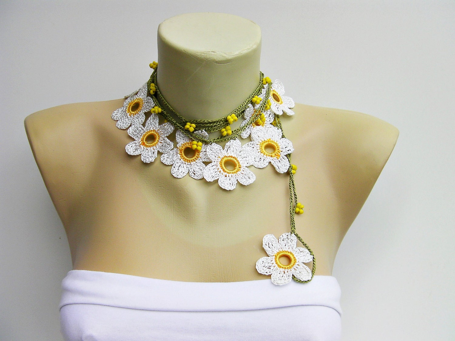 Crochet Necklace : CROCHET lariat necklace jewelry Crochet bead work by SenasShop