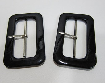 6cm Faux Patent Leather Covered Buckles