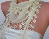 Cream- Light yellow Scarf with  flower lace