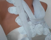 Christmas Sale 11.90 usd White Scarf with circle lace