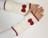 ready to ship Hand Crochet Fingerless Gloves mittens red and  white with bow christmas day