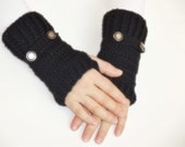 ready to ship Hand Crochet Fingerless Gloves mittens balck with metalic buttons