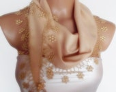 BIG DISCOUNT New Design Pashmina scarf with lace light brown camel