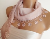 BIG DISCOUNT New Design Pashmina scarf with lace soft powder pink