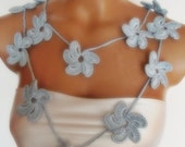 hand crocheted floral scarf lariat necklace baby blue light blue