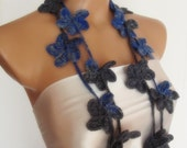 wool hand crocheted floral scarf lariat 235 cm necklace blue grey