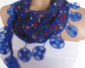 fashion cotton scarf with lace new design navy blue floral