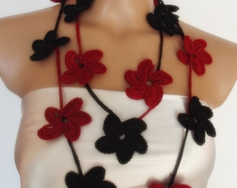 red-black hand crocheted floral scarf lariat necklace