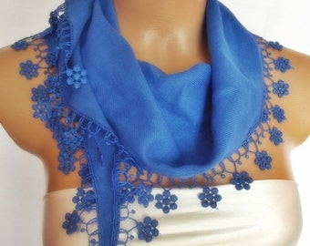 BIG DISCOUNT New Design Pashmina scarf with lace blue
