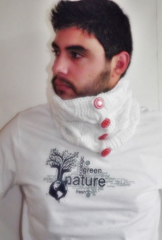 BIG DISCOUNT womens Mens neckwarmer cowl scarf valentines day gift ready to ship white red fathers day gift