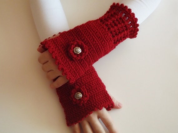 ready to ship Hand Crochet Fingerless Gloves mittens red