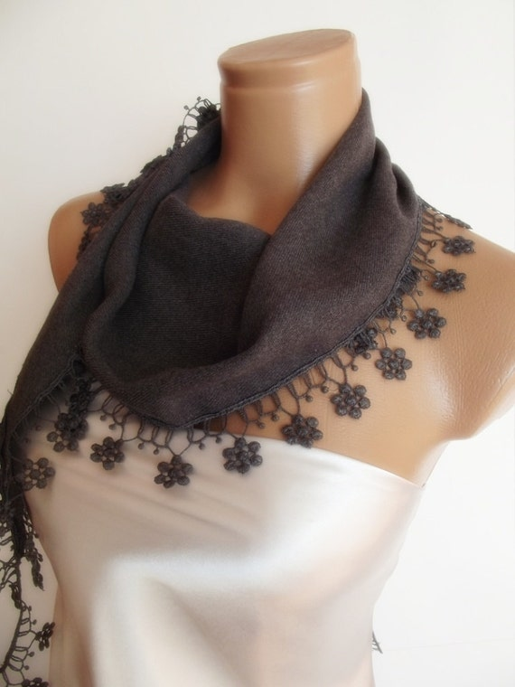 BIG DISCOUNT New Design Pashmina scarf with lace dark grey