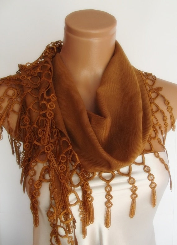 BIG DISCOUNT New Design Pashmina scarf with lace camel brown