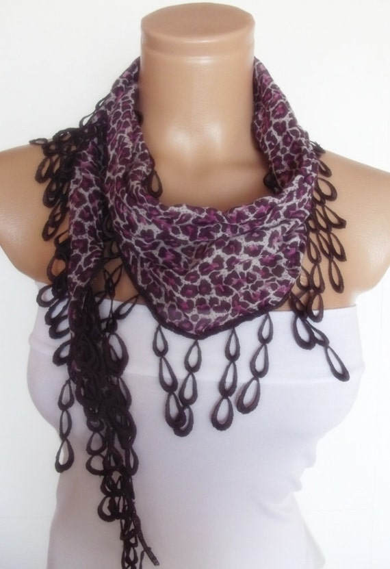 2012 summer fashion scarf with lace new design animal pattern purple